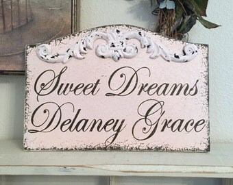 SWEET DREAMS, Sweet Dreams Sign, Custom Name Sign, Little Girl Signs, 13 x 9
