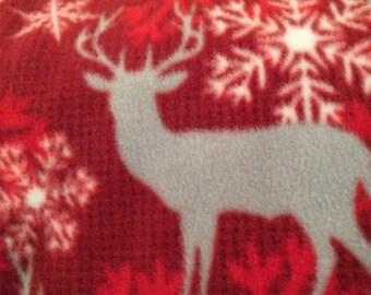 Fleece Red Blanket with Deer Print