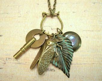 Woodland Charm Necklace, Cicada Necklace, Vintage Key, Vintage Locket, Bug, Nature Inspired, Photo Locket, Verdigris, Leaf, Nature Lover