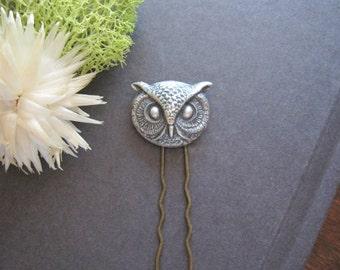 Owl Hair Fork, Owl Hair Stick, Woodland Wedding, Owl Head, Silver Owl, Cosplay Hair Pick, Animal Hair Fork, Bun Accessory, Animal Head