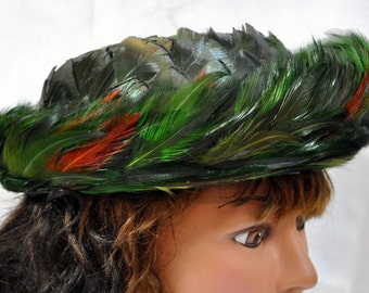 Vintage 1950's/1960's  Feather Bowler Derby Hat with Netting - Iridescent