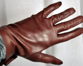 Cocoa Brown Leather Gloves Vintage Size 7