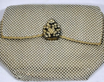 Whiting and Davis White Mail Chain Clutch Purse with Rhinestone Clasp - Vintage Evening Purse