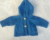 Vintage Baby knit hoodie duck buttons unisex
