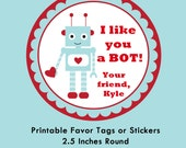 Personalized Robot Valentine Tag, Tags or Stickers --- Digital File of 12 2.5 inch Round Stickers or Tags