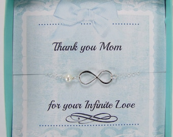 Infinity Necklace, Mother Gift, Gift For Mom, Figure Eight ,Thank you Mom, Mother Of The Bride Jewelry, Mother Of The Groom, Mothers Day