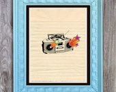 SALE Boombox Print Includes 5 backgrounds Instant Digital Download DIY Print yourself