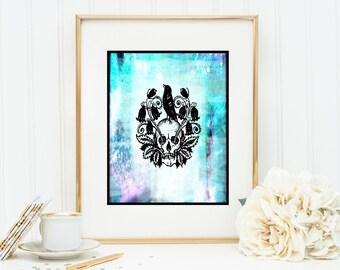 Poe's LENORE skull Instant Digital Download DIY Print yourself watercolor