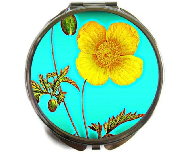 Yellow Poppy Compact Mirror Pocket Mirror Large