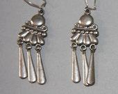 Vintage Navajo Dangle Earrings Sterling Silver Pierced Earrings
