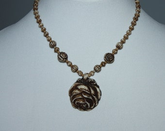 Vintage Art Deco Molded Glass Necklace Pressmold Glass Rose Pendant