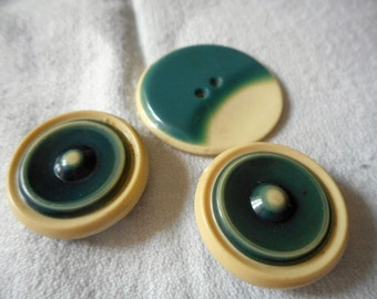 Lot Set of VINTAGE Teal & Cream Celluloid BUTTONS