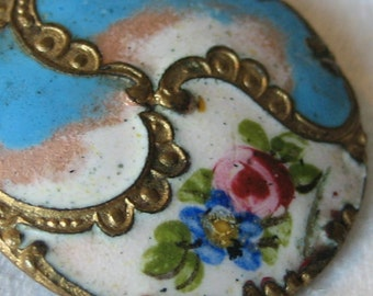 ANTIQUE Blue & White Flower with Gold Swirl BUTTON