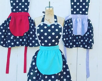 apron,I Love LUCY apron, rockabilly dress up apron, RETRO apron, 50s apron,black polka dot apron fifties sexy hostess gift womens full apron