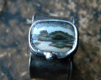 Jasper Ring  - soldered statement ring - copper ring -  OOAK