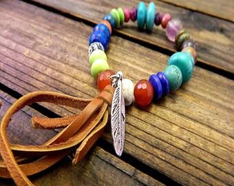 Colors Of The Sky, Western Cowgirl Southwestern Boho Semi Precious Stone Stretch Bracelet- Leather Tassel Bracelet- Stone Stretch Bracelet