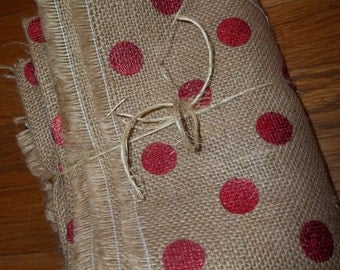 Red Metallic Dot Burlap Holiday Burlap Dotty Print Burlap