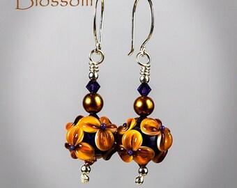 Handmade Lampwork Earrings by BluDragonfly SRA - Exotic Blossom Lampwork Earrings
