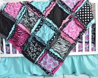 Zebra Crib Bedding Rag Quilt - Turquoise / Black / Pink Baby Bedding - Girl Crib Bedding Baby Girl Nursery - Boho Baby Quilt Modern Nursery