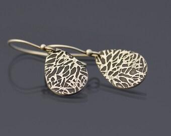 Silver Earrings, textured teardrop earrings, sterling silver teardrop earrings, crackle texture