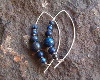 Earrings, Pierced Earrings, Wired Earrings, Gemstone Earrings, Lapis Blue Earrings, Sterling Silver Earrings