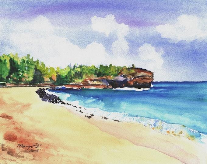 Shipwreck's Beach 2 8 x 10 Art Print - Kauai Hawaii - Beach Wave Art - Grand Hyatt Kauai - Beach Sand Ocean Print - Hawaiian Landscape Decor