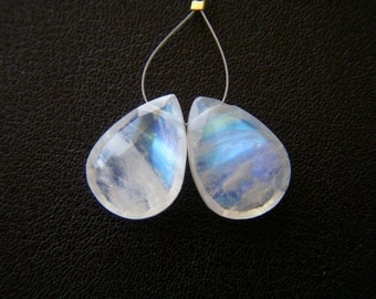 Rainbow Moonstone Faceted Drops - Pair - 10.5x14.5mm