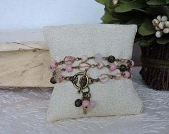 Three times wrap Pink mixed bracelet