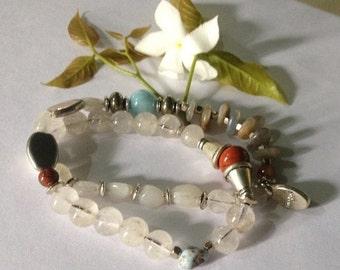 ON SALE Full Moon - Moonstones & Majik Infinity Yoga Bracelet -