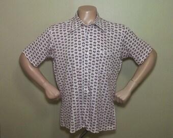 Vintage CANADA MAPLE LEAF Novelty Print 1970s Men's Shirt xxl