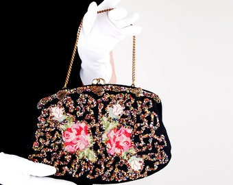 50s Pink Roses and Beaded Fabric Handbag by La France