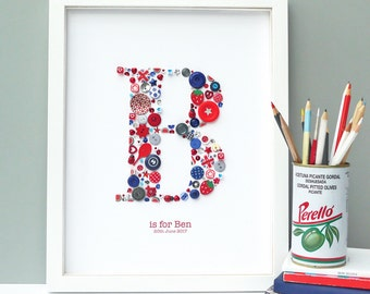 Personalised Initial Boy Button Letter Artwork
