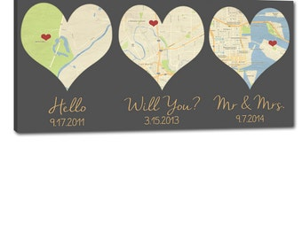 Gift Idea Heart Shaped Map Art YOUR Three locations Where We Met, engaged and married,  Cotton Anniversary Gift, Wedding gift for Couple