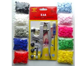 KAM Snap Pliers and 250 sets Size 20 KAM Plastic resin snaps 10 Colors with Awl