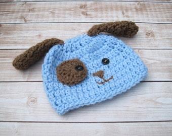 Baby Puppy Hat, Baby Dog Hat, Baby Hat, Baby Boy Hat, Newborn Boy Hat, Baby Photo Prop, Newborn Puppy Hat, Baby Animal Hat, Blue