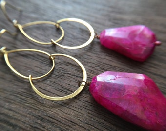 Statement Bold Modern Geometric Gold and Hot Pink Magenta Earrings Gift for women, sister, mom, aunt, girlfriend, wife