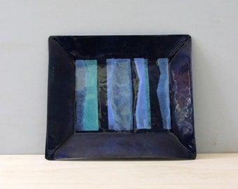 Small midcentury modern enamel dish. Blue stripes