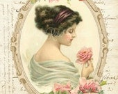 Vintage Victorian lady pink roses French Script digital download cottage chic Buy 3 get one FREE