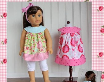 "18"" Doll clothes pattern Amanda Dress and Top Boutique doll sewing Pattern  Avery Lane Designs 18 inch size doll PDF Pattern"