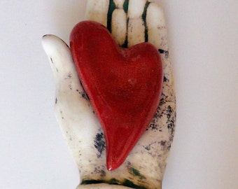 Ceramic Wall Sculpture MY Heart is in your Hand
