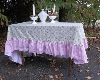 Pink Ruffled Tablecloth Handmade READY to SHIP Cottage Chic Tablecloth Bridal Shower Floral Tablecloth Wedding Table Decor 56x96
