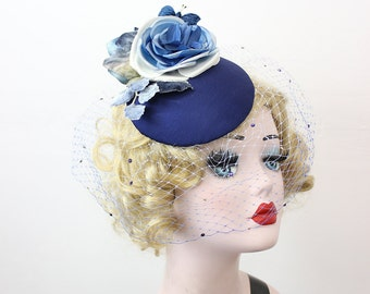 Navy Blue Cocktail Hat, Rose Fascinator, Ombre Blue Veil, Mother of the Bride, Butterfly Hair Accessory,  Swarovski Crystal Veil