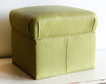 Vintage storage hassock - foot stool - ottoman - container - toy box - toy chest - light green - vinyl - stow away hassock - Barnett