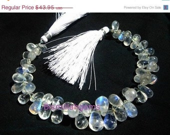 55% OFF SALE Genuine Blue Flashy Rainbow Moonstone Smooth Drop Briolettes Full 7 Inches Long Strand Size - 8x5 -12x8mm approx