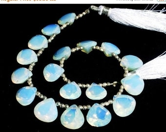 55% OFF SALE 1/2 Strand 10 Pieces 5 Matched Pair - Opalite Faceted Heart Shaped Cut Stone Briolettes Size 10 - 12mm approx