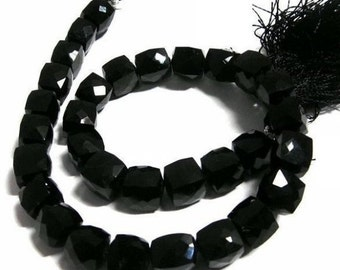 55% OFF SALE 1/2 Strand - Finest Quality AAA Black Onyx Faceted Cube Briolettes Size 7 - 8mm approx.