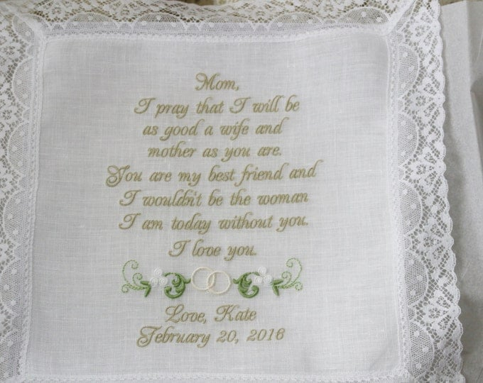 Exquisite Cathedral Lace Irish Linen Mother of the Bride Personalzed Wedding Handkerchief