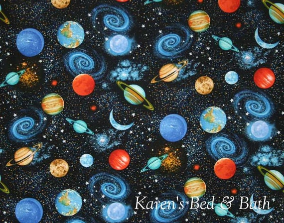 Space planets fabric by yard half yard quarter yard fat for Space fabric by the yard