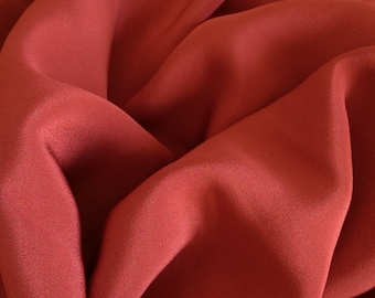 4 Ply Silk Crepe Fabric sold by the 1/2 Yard, Persimmon Color Silk Fabric, Heavy Silk Fabric