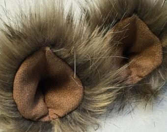 Faux Fur Clip On Costume Ears Light Tan Desert Fox Colored